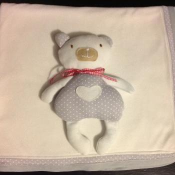 Baby Blanket and personalised teddy. Handmade gifts for new babies, baby shower, christenings, Christmas