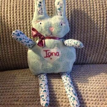 Baby Personalised Bunny teddy. Handmade gift for new babies, baby shower, christenings